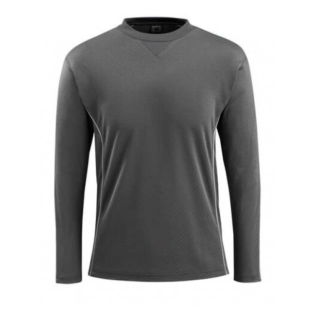 T-shirt, long-sleeved dark anthracite/hi-vis red